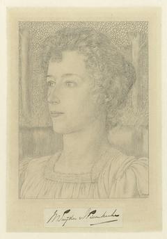 Portret van mejuffrouw M. Snijder van Wissenkerke met op de achtergrond een weide met bomen