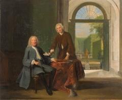 Portret van twee mannen in een interieur