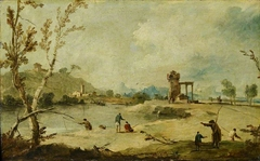 River Landscape with a Ruined Tower and a Distant Village