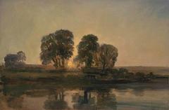 River Scene at Sunset