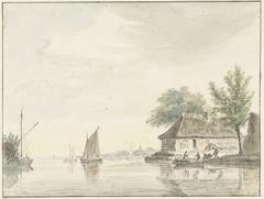 Rivierlandschap met zeilende boten
