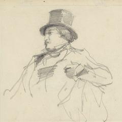 Schets van een man met een hoge hoed
