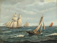 Seascape with sailing boats.