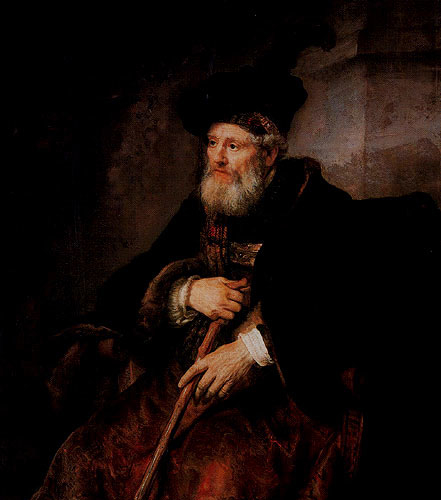 Seated old man with a cane in fanciful costume
