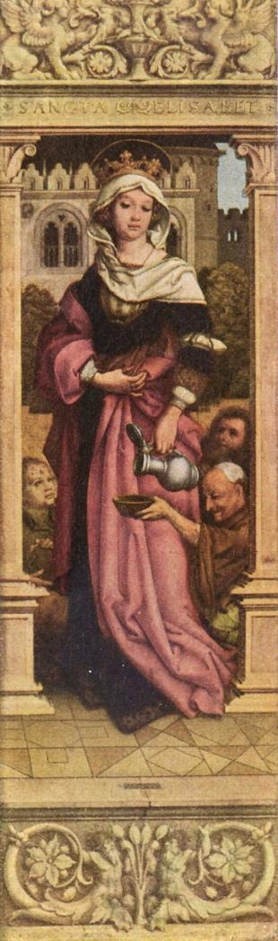 Sebastiansaltar, rechter Flügel: Die hl. Elisabeth; Rückseite: Maria der Verkündigung
