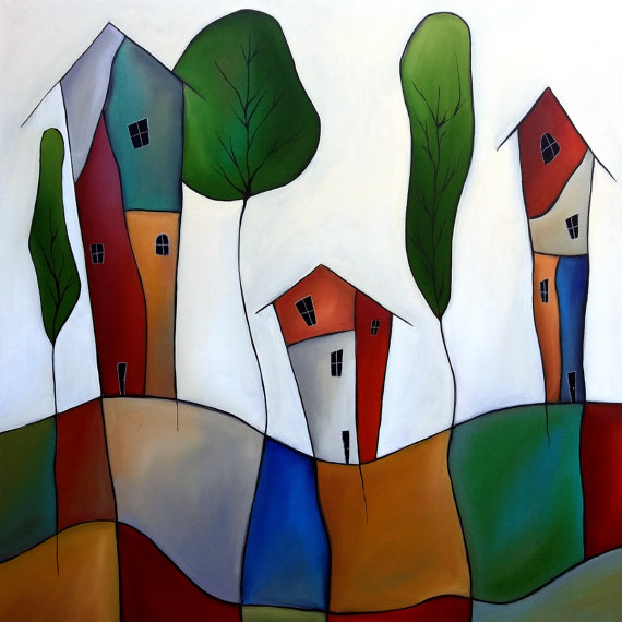 Settling Down - Original Abstract Modern home decor colorful houses huge wall art by Fidostudio