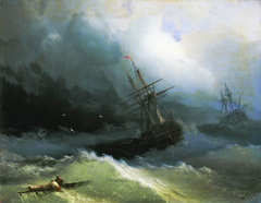 Ships at the raging sea
