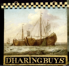 Sign, both sides painted with Herring Boats