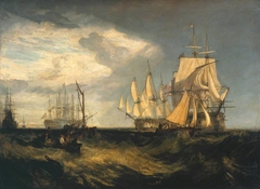 Spithead: Two Captured Danish Ships Entering Portsmouth Harbour