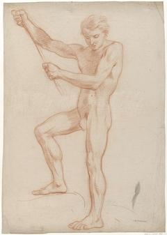 Staand mannelijk naakt, in de geheven armen een stok houdend