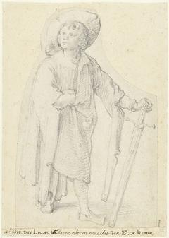 Staande jongen met zwaard