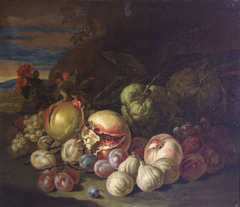 Still life of fruits with pomegranates and figs