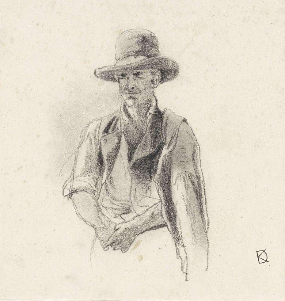 Studie van een man met een hoed op en een jas over zijn schouder