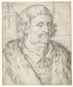 Studie van het hoofd van een man in de stijl van Dürer