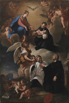 The Holy Ghost, Angels and the Virgin with Saints Mark, Stanislau Kostka (Holding the Child), Aloysius Gonzaga and Francesco Borgia