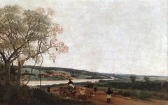 The Ox Cart. Brazilian landscape