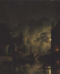 The Schreierstoren in Amsterdam by moonlight