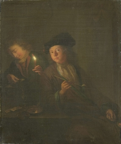 The Smoker (A Man with a Pipe and a Man Pouring a Beverage into a Glass)