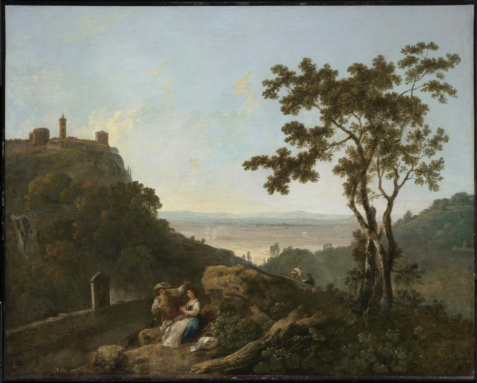Tivoli and the Roman Campagna with a Man and Woman