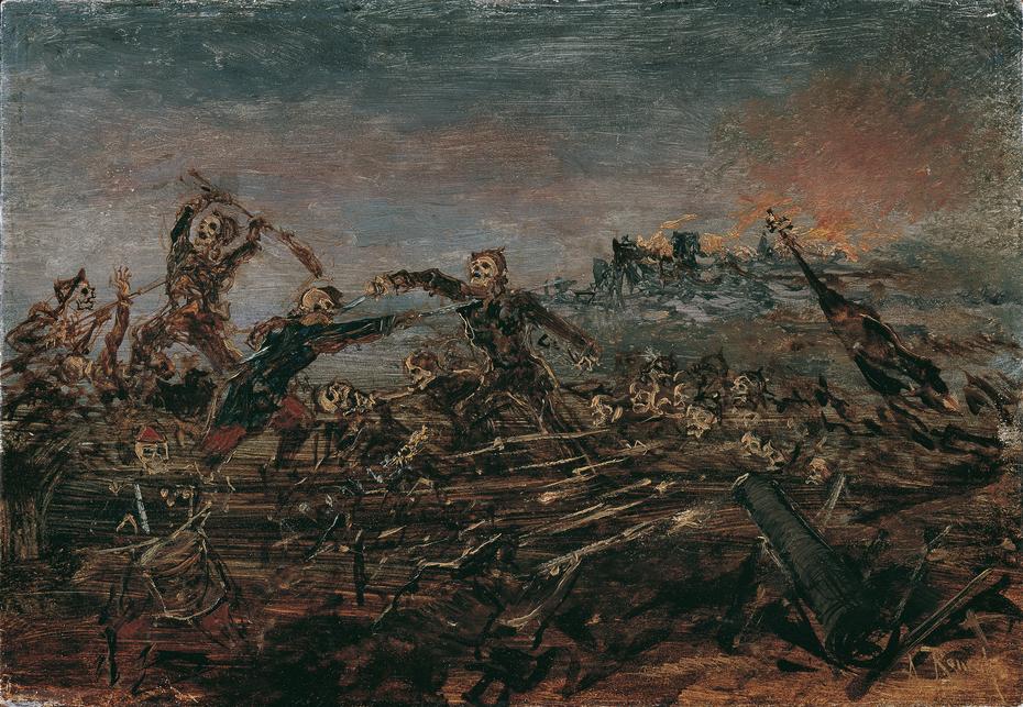 Totentanz auf dem Schlachtfeld vor brennenden Ruinen
