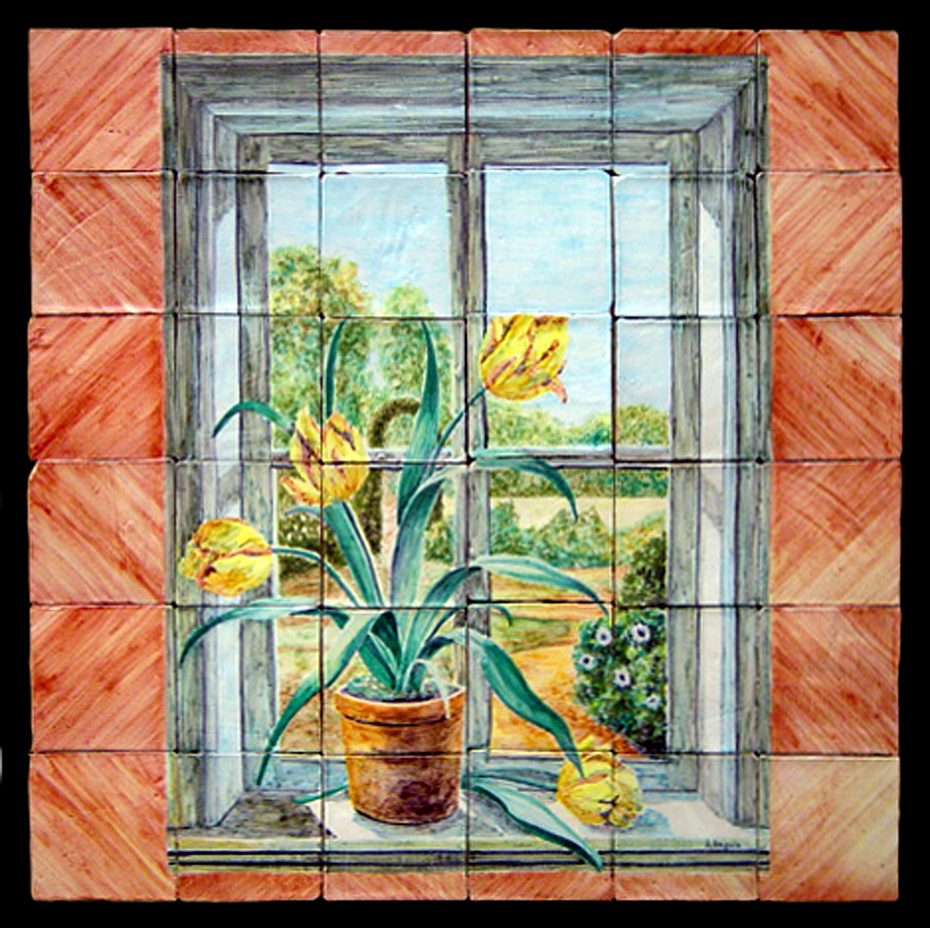 Tulipanes en ventana