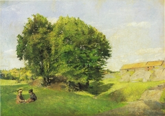 Two children and a group of trees