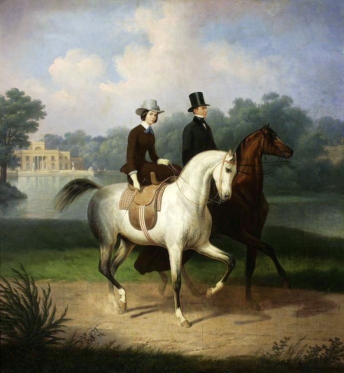 Equestrian portrait of the Schossland spouses