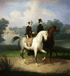 Equestrian portrait of the Schossland spouses