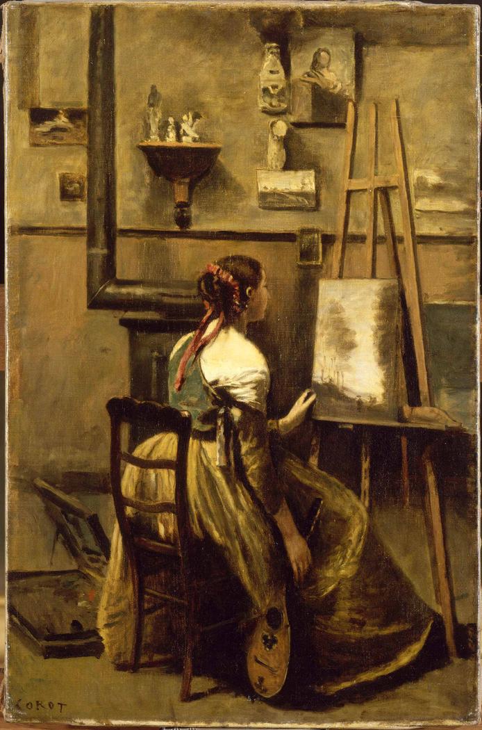 L'atelier de Corot (Jeune femme assise devant un chevalet)