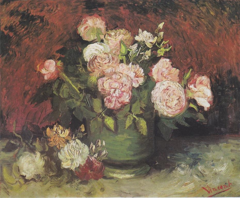Schale mit Pfingstrosen und Rosen