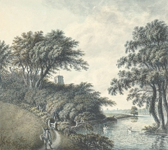 View of the River Dee with Eccleston Church and distant view of Chester