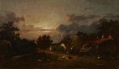 Village Scene, Sunset