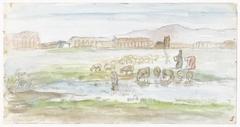 Vlakte met schapen, op de achtergrond ruïnes van een aquaduct