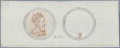 Voor- en achterzijde van een penning met portret van Hendrik II, ter gelegenheid van het beleg van Metz