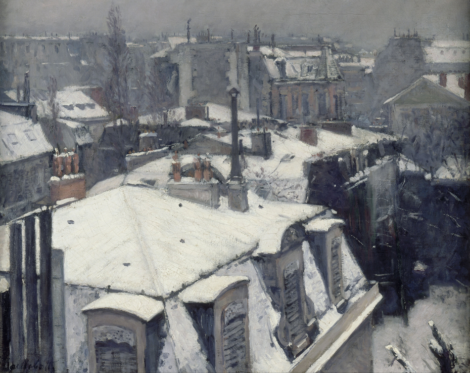 Vue de toits (effet de neige) [Rooftops in the Snow (snow effect)]