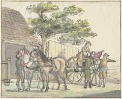 Wagen met twee paarden bij de uitspanning De Donkere Kuil bij Haarlem