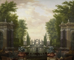 Water Terrace with Statues and Fountains in a Park
