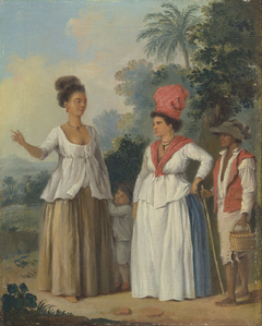 West Indian Women of Color, with a Child and Black Servant