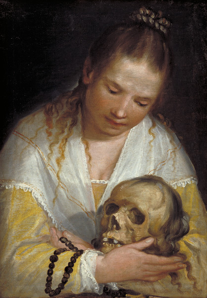 Young Women Contemplating a Skull