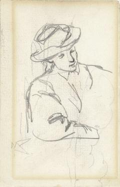 Zittend persoon met hoed