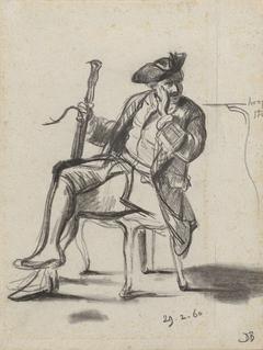 Zittende man met fagot
