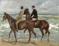 Zwei Reiter am Strand nach links